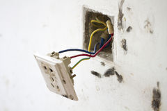 Electrical renovation work, Light plug Royalty Free Stock Photography