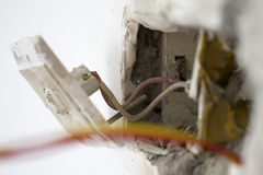 Electrical renovation work, Light Switch Stock Photography