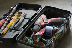 Electrical renovation work, many Hand tools Stock Photos
