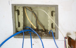Electrical renovation work, Multimedia box Stock Photography