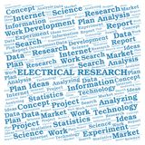 Electrical Research word cloud. Wordcloud made with text only royalty free stock image