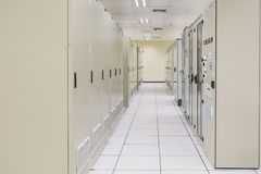 Electrical Room, medium and high voltage switcher, equipment. Panel to control and protect the electrical equipment and system by fuse, circuit breaker stock photos