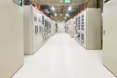 Electrical Room, medium and high voltage switcher, equipment, pa. Nel to control and protect the electrical equipment and system by fuse, circuit breaker stock photography
