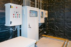 Electrical Room, medium and high voltage switcher, equipment, pa. Nel to control and protect the electrical equipment and system by fuse, circuit breaker royalty free stock images