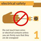 Electrical Safety and Health icons and signs set. Occupational Safety and Health vector icons and signs set. Electrical safety Stock Photo