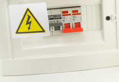 Electrical safety sign. On a white background royalty free stock photo