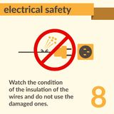 Electrical Safety simple vector art poster. Occupational Safety and Health vector sign. Electrical safety and electric shock risk caution sign stock illustration
