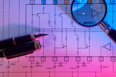 Electrical scheme. Close up, with colorful light, and pen royalty free stock image