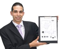 Electrical scheme. Businessman showing electrical scheme Stock Image