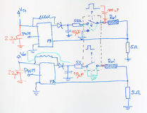 Electrical scheme drawn with blue and red pen royalty free stock photo