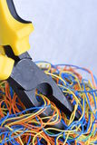 Electrical service, component tool and wires. On metal background Stock Photos