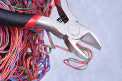 Electrical service, component tool and wires Royalty Free Stock Image