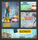 Electrical service, electricity power generation. Electricity and energy power generation, electrician electrical service posters. Vector power plants and energy stock illustration