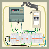Electrical shield. Picture of the electrical panel, electric meter and circuit breakers vector illustration