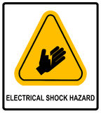 Electrical Shock Hazard symbol, vector illustration with warning sign in yellow triangle isolated on white. Exclamation icons Royalty Free Stock Image