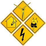 Electrical sign. Set of electricity signs Royalty Free Stock Photo
