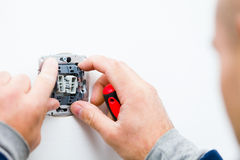 Electrical socket being installed Royalty Free Stock Image