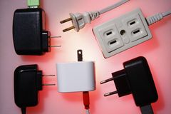 Electrical socket and electrical plugs Stock Photography