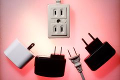 Electrical socket and electrical plugs Royalty Free Stock Photography