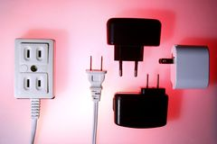 Electrical socket and electrical plugs Stock Photo