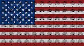 Electrical socket outlets in the colors of the flag of USA