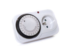 Electrical socket timer. In front of white background Royalty Free Stock Photos