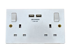 Electrical Socket With USB Charger Plugs  Stock Photos
