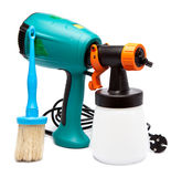 Electrical spray gun for coloration, for color pulverization and a paintbrush Royalty Free Stock Photo
