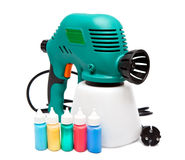 Electrical spray gun for coloration, for color pulverization Stock Photo