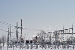 Electrical station. Electric power station with high voltage generators and pylons Stock Images