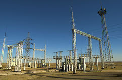 Electrical station. New large electrical station in the steppe Royalty Free Stock Photo