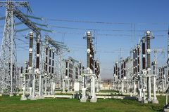 Electrical station. High voltage equipments on power station. Industrial distribution of electricity. High voltage lines. On electric substation stock photos