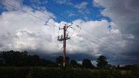 Electrical storm. Aging pylons of Derbyshire Royalty Free Stock Photo