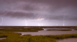 Electrical Storm Approaches lightning Strikes Galveston Texas Stock Images