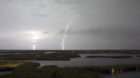 Electrical Storm Approaches Lightning Strikes Galveston Texas Royalty Free Stock Images
