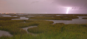 Electrical Storm Approaches lightning Strikes Galveston Texas We Stock Photos