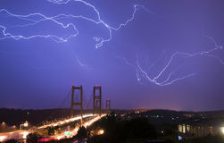 Electrical Storm Lightning Strikes Bolts Tacoma Narrows Bridge W Royalty Free Stock Photo