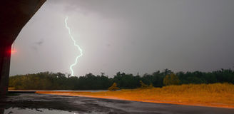 Electrical Storm Thunderstorm Lightning Texas River Highway Over Stock Photo