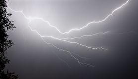 Electrical Storm, Up Close. An electrical storm creating forked lightning from static electricity Royalty Free Stock Image