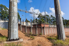 Electrical Sub Station Power Lines Towers Stock Photography