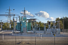 Electrical substation. Is where voltage is transformed for transmission and distribution royalty free stock photos