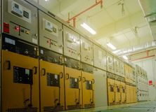 Electrical substation cabinet. Electric substation room in petrochemical plant Stock Image