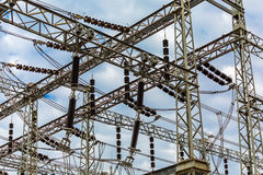 Electrical substation with cloudy sky background Royalty Free Stock Photo