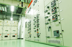 Electrical substation control room. Electrical substation industrial plant, Electric amperage control room Royalty Free Stock Photos