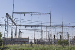 Electrical substation for heavy current with resistors Royalty Free Stock Image