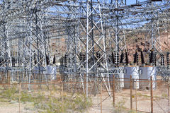 Electrical substation with high voltage components in the desert Stock Images