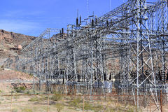 Electrical substation with high voltage components in the desert Royalty Free Stock Images