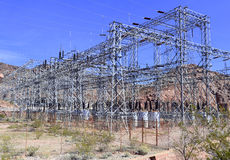 Electrical substation with high voltage components in the desert Stock Image