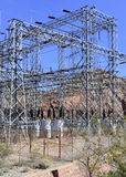 Electrical substation with high voltage components in the desert Stock Photography