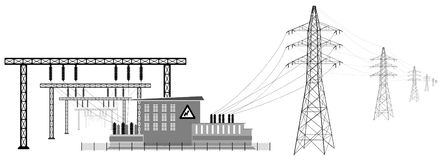 Electrical substation with high voltage lines. Transmission and reduction of electrical energy. Electrical substation with high voltage lines. Transformers and stock illustration